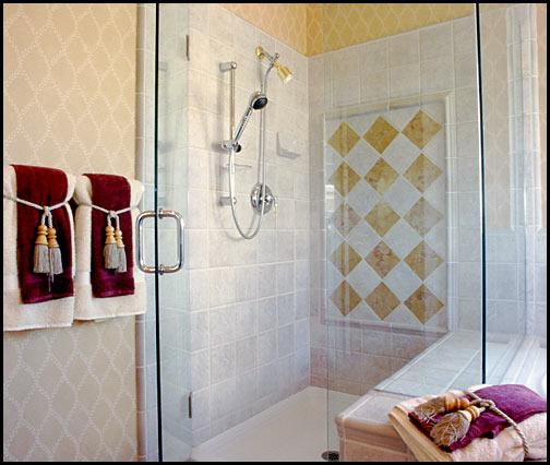 tiled bathroom and glass shower door