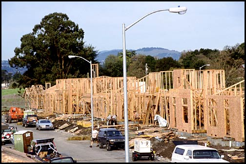 new construction wooden building frames