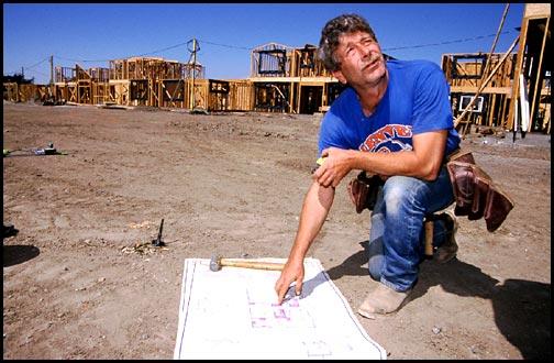 construction blue print action shot