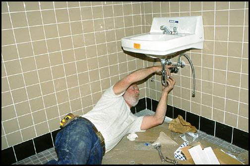 installation of a bathroom sink