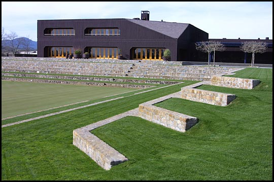 winery stone steps and grassy field