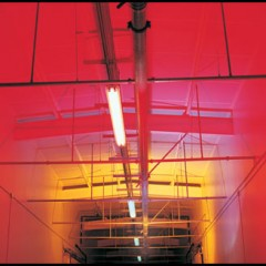 red ceiling and fluorescent lights