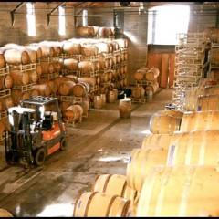 barrel room at a winery