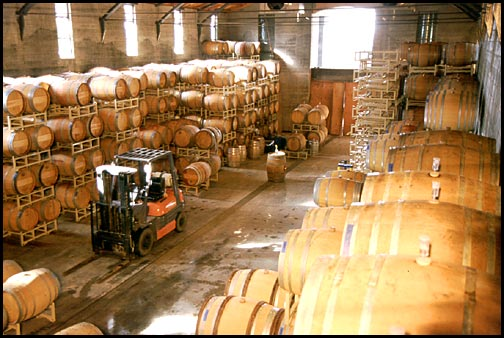 barrel room at a winery