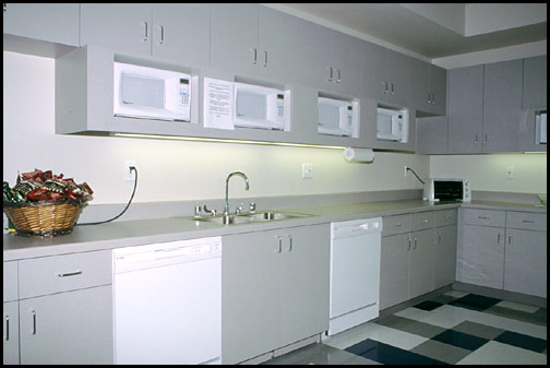 break room kitchen at a work office