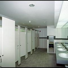 bathroom stalls and sinks