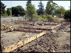 Concrete foundation framing.