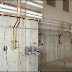 Copper glycol cooling system for wine tanks.