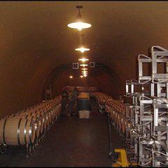 Wine cave barrel storage.