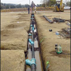 Waste water lines for fermentation room.