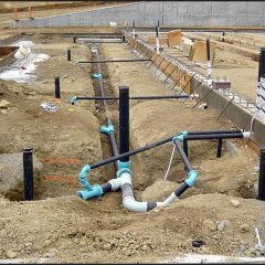 Waste water lines for barrel room.