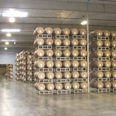 Rodney Strong Vineyard barrel room.