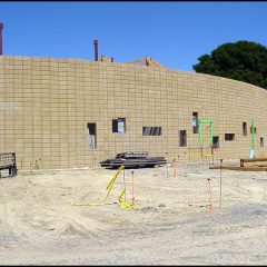Congregation Shomrei Torah's new temple outer curved wall.