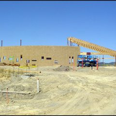 Congregation Shomrei Torah's new temple walls and roof under construction.