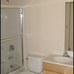 Shower, toilet, and vanity in HomeAid apartment.