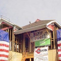 Close up of front of home construction